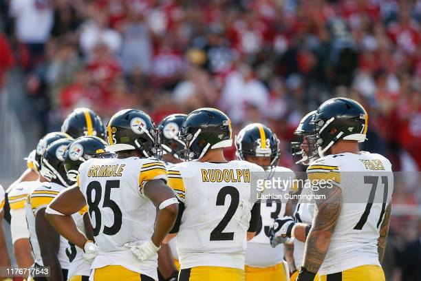 Quarterback Mason Rudolph of the Pittsburgh Steelers calls a play in the huddle during the second half against the San Francisco 49ers at Levi's...