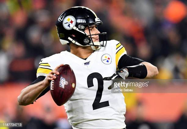 Quarterback Mason Rudolph of the Pittsburgh Steelers delivers a pass over the defense of the Pittsburgh Steelers during the game at FirstEnergy...