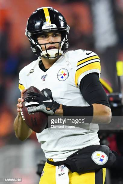 Quarterback Mason Rudolph of the Pittsburgh Steelers drops back to pass prior to a game against the Cleveland Browns on November 14, 2019 at...