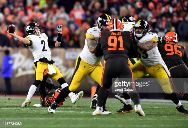 Quarterback Mason Rudolph of the Pittsburgh Steelers is tackled by the defense of the Pittsburgh Steelers forcing a turnover on downs in the second...