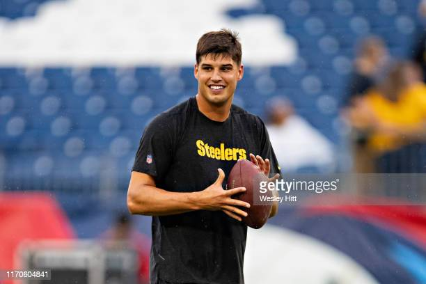 Quarterback Mason Rudolph of the Pittsburgh Steelers warms up before a game against the Tennessee Titans during week three of preseason at Nissan...