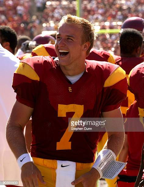 Quarterback Matt Barkley of the USC Trojans laughs on the sidelines during the game against the San Jose State Spartans on September 5, 2009 at the...