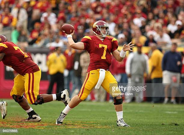 Quarterback Matt Barkley of the USC Trojans throws a pass against the Arizona Wildcats on December 5 2009 at the Los Angeles Coliseum in Los Angeles...