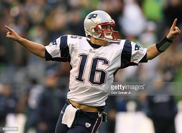 Quarterback Matt Cassel of the New England Patriots celebrates after his team scored a two point conversion in the fourth quarter against the Seattle...