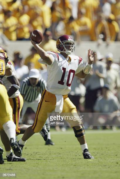Quarterback Matt Cassel of the USC Trojans throws a pass against the Arizona State Sun Devils in the second quarter of the game on October 4 2003 at...