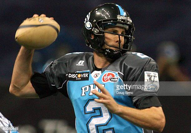 Quarterback Matt D'Orazio of the Philadelphia Soul drops back to pass during Arena Bowl XXII at the New Orleans Arena on July 27 2008 in New Orleans...