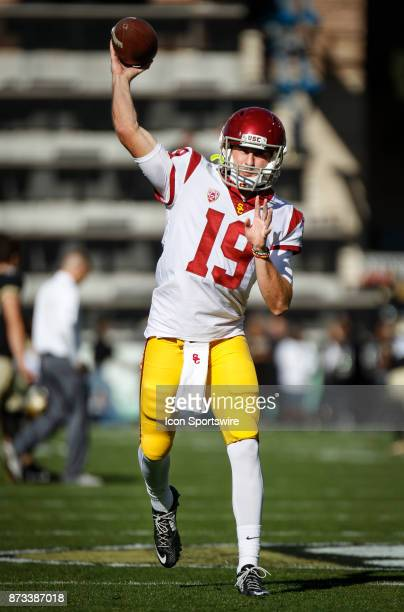 USC quarterback Matt Fink throws the ball during warmups before the Colorado Buffalos game versus the USC Trojans on November 11 at Folsom Field in...