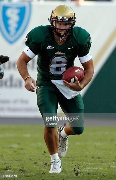 Quarterback Matt Grothe of the South Florida Bulls scrambles during the game against the Cincinnati Bearcats on November 3, 2007 at Raymond James...