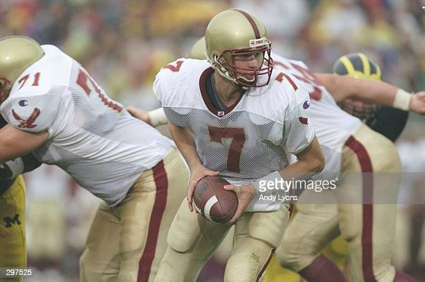 Quarterback Matt Hasselbeck of the Boston College Eagles drops back during a game against the Michigan Wolverines at Michigan Stadium in Ann Arbor...