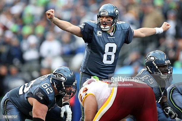 Quarterback Matt Hasselbeck of the Seattle Seahawks calls out under center in the first quarter against the Washington Redskins during the NFC Wild...