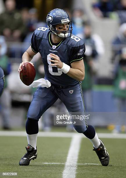 Quarterback Matt Hasselbeck of the Seattle Seahawks drops back to pass against the New York Giants during the game at Qwest Field on November 27,...