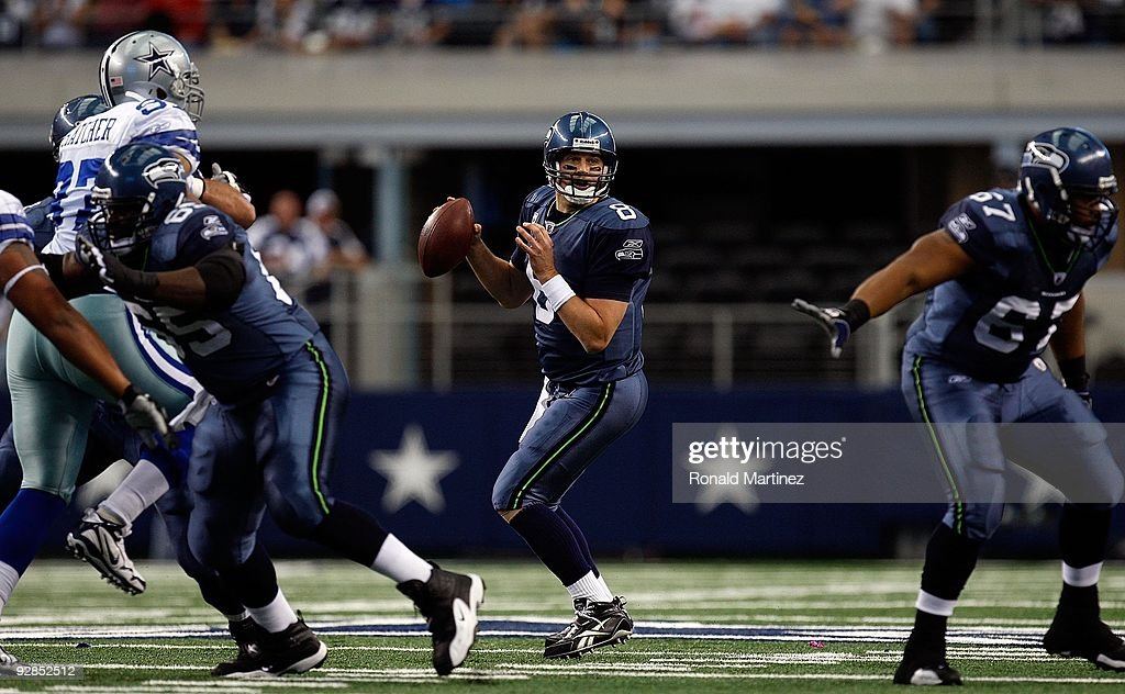 f028f45ab Quarterback Matt Hasselbeck of the Seattle Seahawks drops back to ...