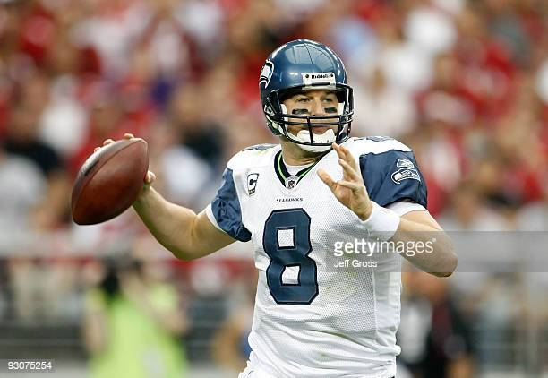 e85ff2ad2 Quarterback Matt Hasselbeck of the Seattle Seahawks drops back to pass  against the Arizona Cardinals in