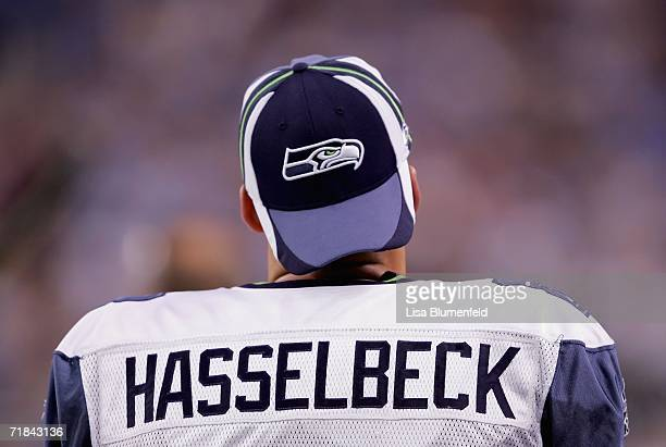 Quarterback Matt Hasselbeck of the Seattle Seahawks looks on from the sideline during the game against the Detroit Lions on September 10 2006 at Ford...