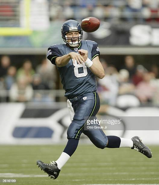 Quarterback Matt Hasselbeck of the Seattle Seahawks passes against the Chicago Bears on October 19, 2003 at Seahawks Stadium in Seattle, Washington....