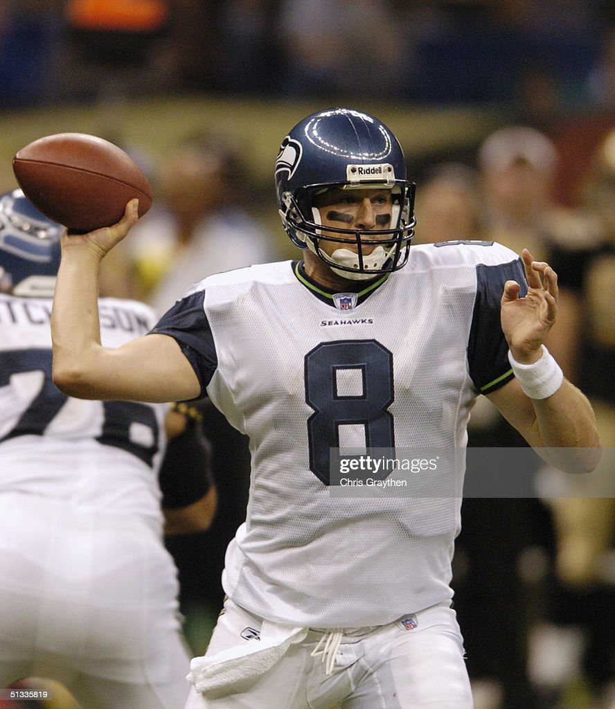 51ad49aa1 Quarterback Matt Hasselbeck of the Seattle Seahawks passes during ...
