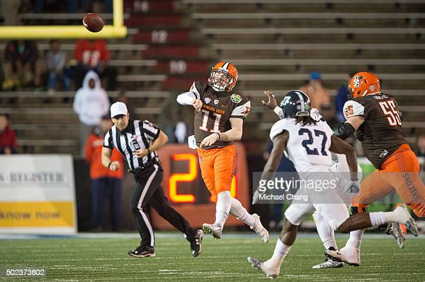 Quarterback Matt Johnson of the Bowling Green Falcons throws a pass during their game against the Georgia Southern Eagles on December 23 2015 at Ladd...