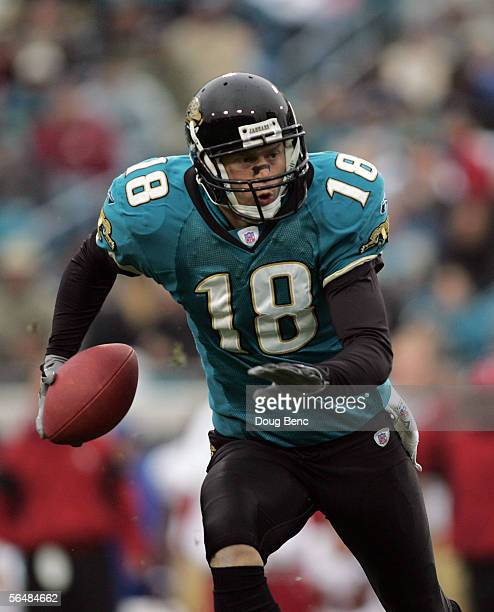 Quarterback Matt Jones of the Jacksonville Jaguars looks for room to run the against the San Francisco 49ers on December 18 2005 in Jacksonville...