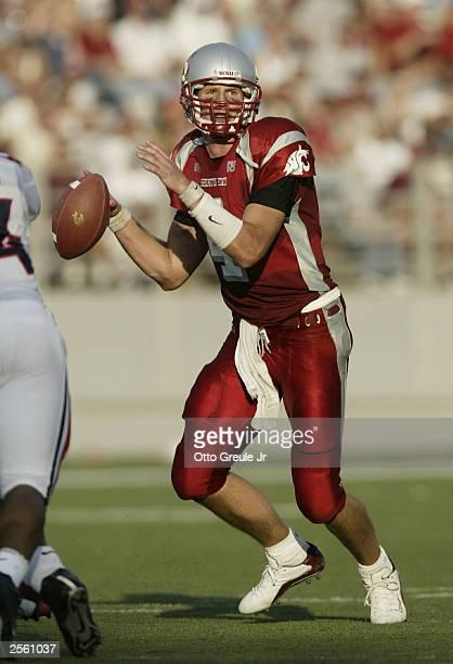 Quarterback Matt Kegel of the Washington State Cougars passes against the University of Arizona Wildcats on October 4 2003 at Martin Stadium in...