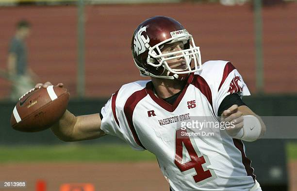 Quarterback Matt Kegel of the Washington State Cougars throws a pass against the Stanford Cardinal on October 18 2003 at Stanford Stadium in Palo...