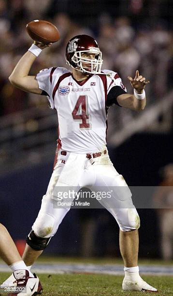 Quarterback Matt Kegel of the Washington State Cougars throws against the University of Texas Longhorns during the Pacific Life Holiday Bowl December...