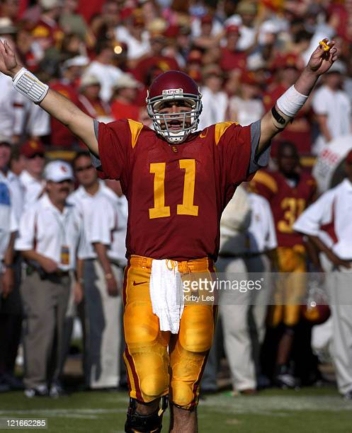 USC quarterback Matt Leinart celebrates 2317 victory over Cal at the Los Angeles Memorial Colsieum in Pac10 Conference football game on Saturday Oct...