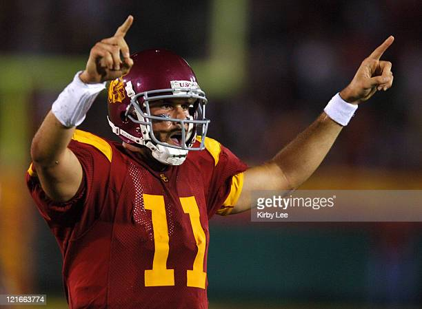 USC quarterback Matt Leinart celebrates a touchdown during 7017 victory over Arkansas at the Los Angeles Memorial Coliseum on Saturday Sept 17 2005