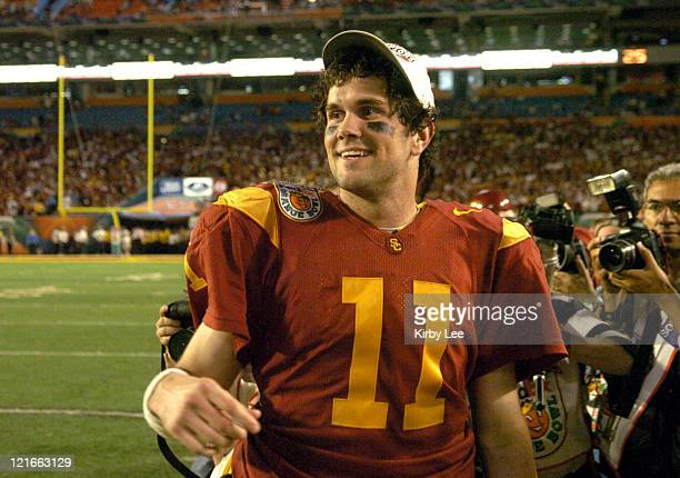 USC quarterback Matt Leinart celebrates during 5519 victory over Oklahoma at the FedEx Orange Bowl at Pro Player Stadium in Miami Fla on Tuesday Jan...