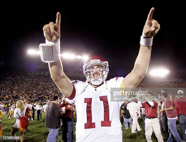 USC quarterback Matt Leinart celebrates the winning touchdown versus Notre Dame in South Bend Indiana Oct 15 2005 USC remained undefeated winning 3431