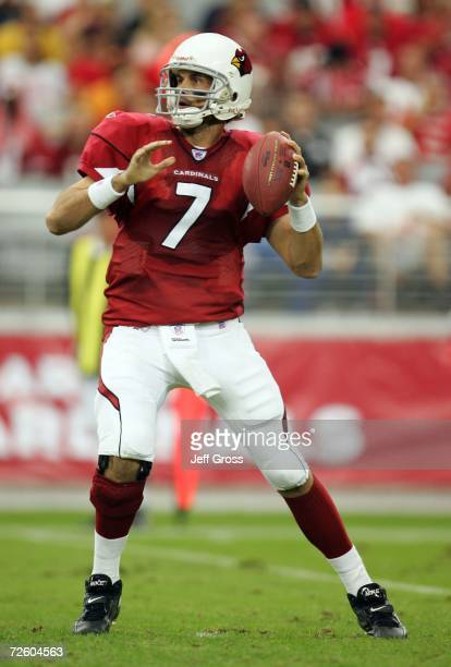 Quarterback Matt Leinart of the Arizona Cardinals drops back to pass in the first half against the Detroit Lions November 19 2006 at University of...