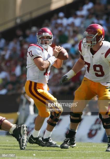 Quarterback Matt Leinart of the University of Southern California Trojans passes the ball against the University of Hawai'i at Manoa Warriors at...