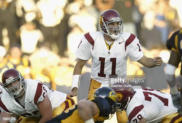 Quarterback Matt Leinart of the USC Trojans calls the play during the game against the California Golden Bears at Memorial Stadium on September 27...