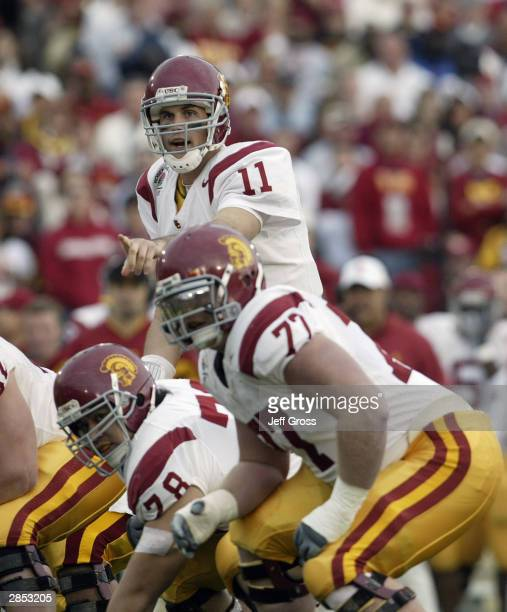 Quarterback Matt Leinart of the USC Trojans calls the signals before the snap during the 2004 Rose Bowl game against the Michigan Wolverines on...