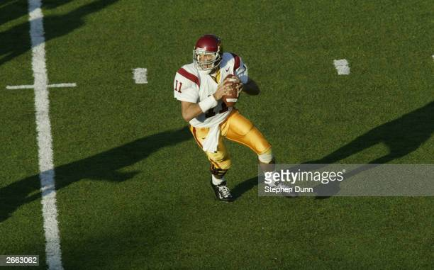 Quarterback Matt Leinart of the USC Trojans looks for an open man during the game against the California Golden Bears at Memorial Stadium on...
