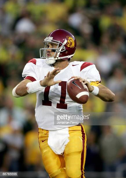 Quarterback Matt Leinart of the USC Trojans looks to pass against the Oregon Ducks on September 24 2005 at Autzen Stadium in Eugene Oregon USC...