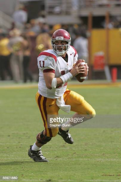 Quarterback Matt Leinart of the USC Trojans looks to pass the ball during the game against the Arizona State Sun Devils on October 1, 2005 at Sun...