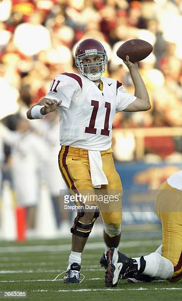 Quarterback Matt Leinart of the USC Trojans makes the pass during the game against the California Golden Bears at Memorial Stadium on September 27...