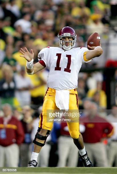 Quarterback Matt Leinart of the USC Trojans passes against the Oregon Ducks on September 24 2005 at Autzen Stadium in Eugene Oregon USC defeated...