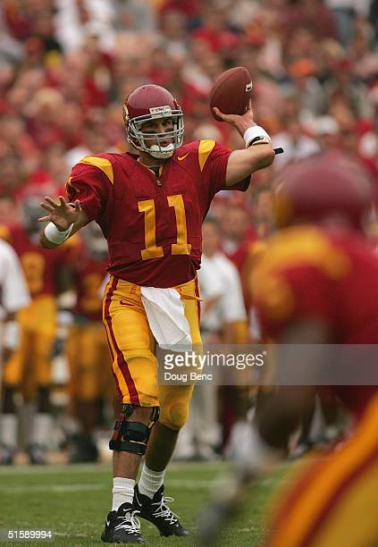 Quarterback Matt Leinart of the USC Trojans passes during the game with the Arizona State Sun Devils at the Los Angeles Coliseum on October 16, 2004...