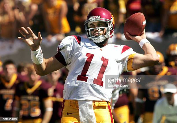 Quarterback Matt Leinart of the USC Trojans throws a pass against the Arizona State Sun Devils on October 1 2005 at Sun Devil Stadium in Tempe Arizona