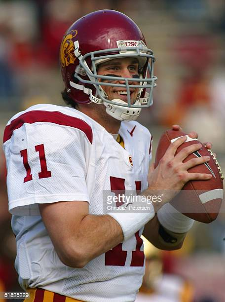 Quarterback Matt Leinart of the USC Trojans warms up before the game against the UCLA Bruins on December 4, 2004 at the Rose Bowl in Pasadena,...
