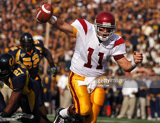 USC quarterback Matt Leinart scores on a 6yard touchdown run in the second quarter of 3510 victory over California for the Trojans' 32nd consecutive...