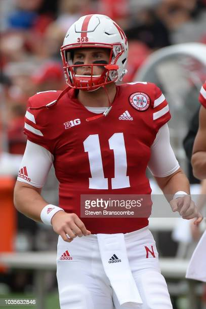 Quarterback Matt Masker of the Nebraska Cornhuskers warms up before the game against the Colorado Buffaloes at Memorial Stadium on September 8 2018...