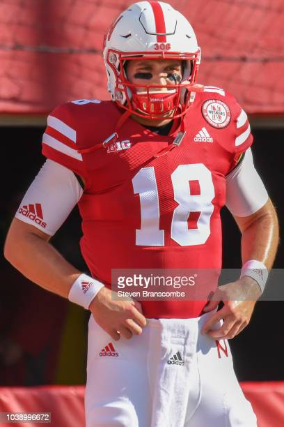 Quarterback Matt Masker of the Nebraska Cornhuskers warms up before the game against the Troy Trojans at Memorial Stadium on September 15 2018 in...