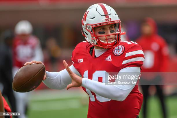 Quarterback Matt Masker of the Nebraska Cornhuskers warms up before the game against the Purdue Boilermakers at Memorial Stadium on September 29 2018...