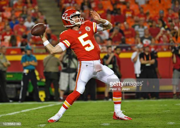 Quarterback Matt McGloin of the Kansas City Chiefs throws a pass down field during the first half against the Green Bay Packers on August 30, 2018 at...