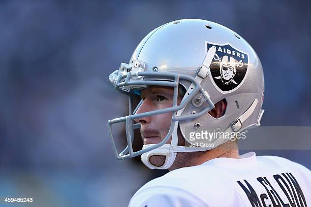 Quarterback Matt McGloin of the Oakland Raiders looks on against the San Diego Chargers at Qualcomm Stadium on December 22, 2013 in San Diego,...