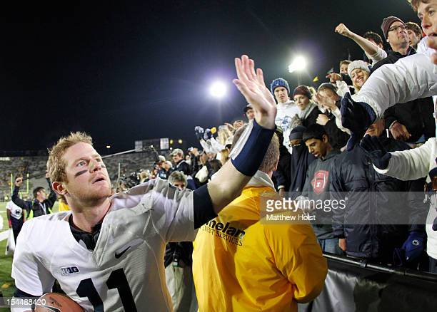 Quarterback Matt McGloin of the Penn State Nittany Lions waves to fans following the game against the Iowa Hawkeyes on October 20, 2012 at Kinnick...