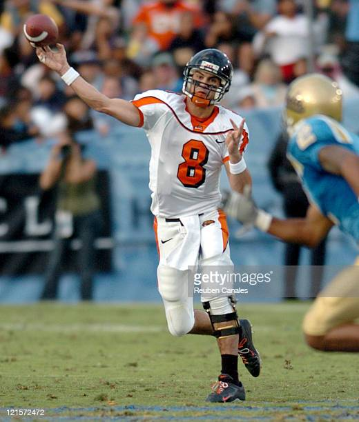 Quarterback Matt Moore of the Oregon State Beavers in a 25 to 7 loss to the UCLA Bruins on November 11 2006 at the Rose Bowl in Pasadena California