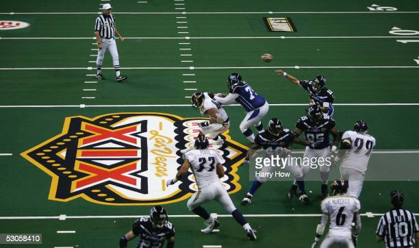 Quarterback Matt Nagy of the Georgia Force passes in the pocket against the Colorado Crush in the third quarter during Arena Bowl XIX on June 12 2005...
